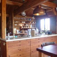 アイランドキッチン 木 タイルのカウター
