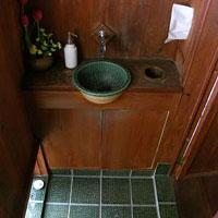 手洗い鉢 織部 木とタイル