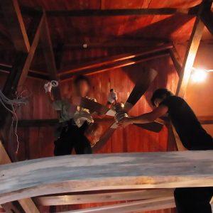 木の家 天井シーリングファン